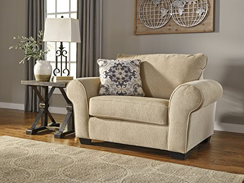 Denitasse Casual Parchment Color Fabric Chair and a Half With Ottoman