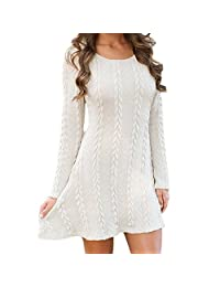 Womens Autumn Knitted Crewneck Long Sleeve Casual A Line Sweater Mini Dress
