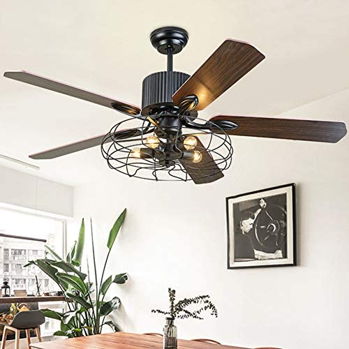 Healer 52 inch Industrial Cage Ceiling Fans with 5 Lights Fixture Semi Flush Mount, Retro Fan Chandelier Lighting with 5 Wood Blades for Living Dining Room Restaurant