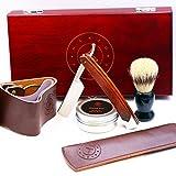 #6: Amazing STRAIGHT RAZOR SHAVING KIT ~ Quality Shave at Home ~ Samurai Strong Edge Japanese Steel Blade + Leather Strop, Sleeve, Soap, Badger Friendly Brush Set ~ Balanced Wood Handle, Dad Gift Box