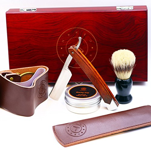 Amazing STRAIGHT RAZOR SHAVING KIT ~ Quality Shave at Home ~ Samurai Strong Edge Japanese Steel Blade + Leather Strop, Sleeve, Soap, Badger Friendly Brush Set ~ Balanced Wood Handle, Dad Gift Box