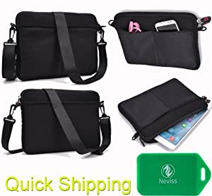 Black Neoprene carrying bag with pockets- Universal design compatible for Archos 101 G9