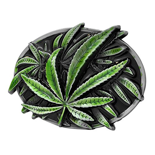 Buckle Rage Adult Unisex Wild Pot Weed Leaf Marijuana Stoner Belt Buckle Green