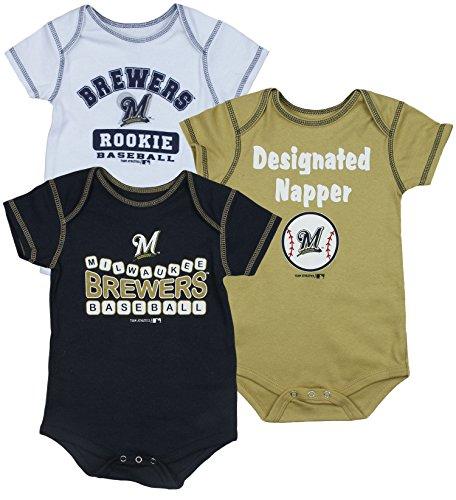 (Milwaukee Brewers MLB Infants 3 Pack Bodysuit)