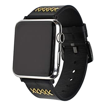 84c0a7b2d8d2 BONSTRAP Compatible with Apple Watch 38mm Black Watch Band Replacement for  Series 1 2 3