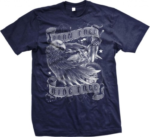 Born Free Ride Free Mens T-shirt, Bald Eagle With Chopper and Flag Men's Old School Motorcycle Shirts, Navy