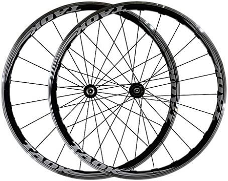 GXFWJD 700Cロードバイクホイール 自転車ホイールセット フロントリアリム クイックリリース V-ブレーキ 9 10スピード用 23c-28タイヤ