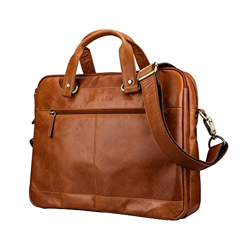 Finelaer Leather Laptop Computer Messenger Zipper Bag Brown with Trolley Sleeve for Men Women by FINELAER (Image #2)