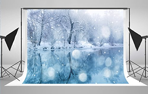 7x5ft White Calm River of Snow Landscape Christmas Backdrop for Photography Blue Winter Photo Background FT0301 (Landscape Backdrops)