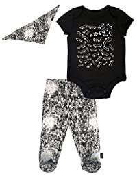 Mini Heroes - Infant Boy's 3 PC Footed Pant and Bandanna Set, Black