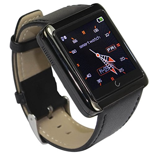DC Upgrade Sport Bluetooth Smartwatch Phone Mate Sync Call SMS for Android IOS iPhone 4 4s 5 5s 5c 6 Plus Samsung Galaxy S5 S4 S3 Note 3 2 HTC Sony Google Lg. (Black)