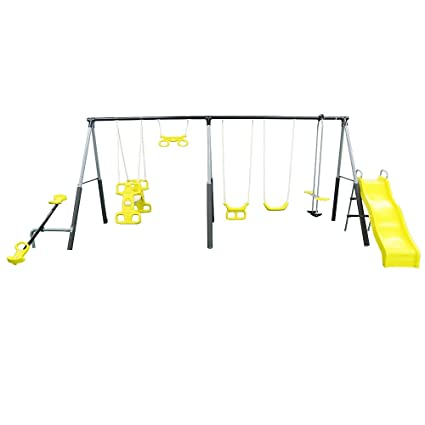 Amazon Com Castleton Swing Set With Slide Seesaw And Fun Toys Games