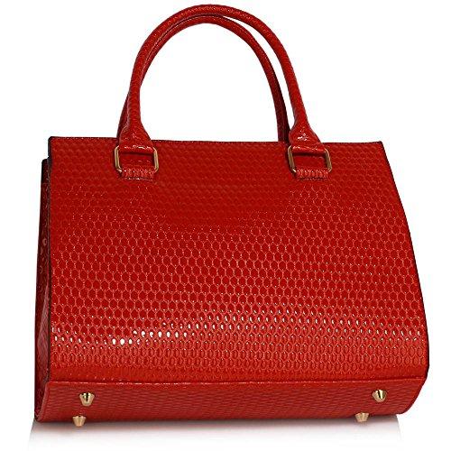 Bolso para mujer de piel sintética, diseño rígido, con correa para el hombro, color azul, talla L A - Red