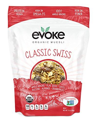 Organic Muesli, Classic Swiss, 12 ounces, PACK OF 4 by Evoke Healthy Foods