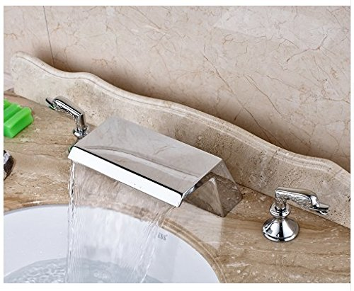 Gowe Chrome Finished Widespread 3pcs Waterfall Spout Bathroom Sink Faucet Deck Mounted Mixer Tap 4