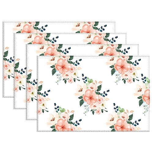 DKISEE Stain Resistant Placemats, Peach Delight Florals Anti-Skid Washable Polyester Table Mats Non Slip Washable Placemats, 12