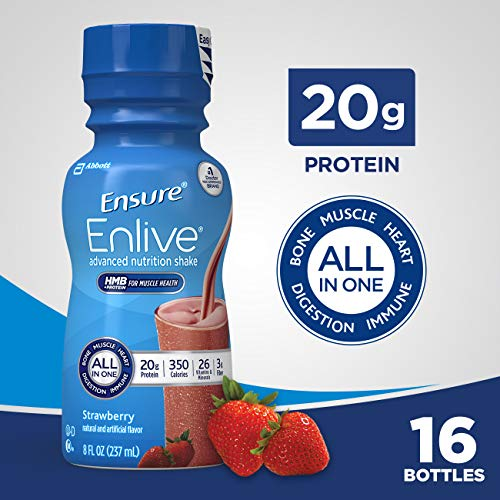 (Ensure Enlive Advanced Nutrition Shake with 20 grams of protein, Meal Replacement Shakes, Strawberry, 8 fl oz, 16)