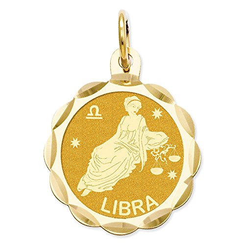 (Jewelry Pendants & Charms Themed Charms 14k Satin Polished Engravable Libra Zodiac Scalloped Disc Charm)