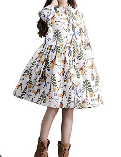 Vogue of Eden Women Casual Loose Lightweight Button Down Linen Dress White - Eden Junior Bridesmaid Dress
