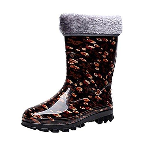 LvRao Botas de Agua de Lluvia el Tacón Alto de las Mujeres | Boots Impermeable Botas Largas de los Tobillo Botines Marrón con Pelaje