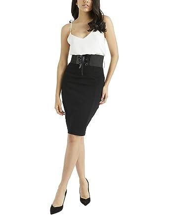 Lipsy Mujer Falda de tubo con cinturón tipo corsé Negro 46: Amazon ...