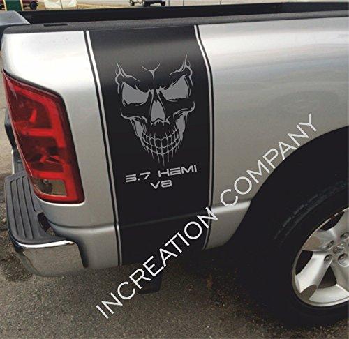 2002-2018 Dodge Ram 1500 2500 Body Rear Side Bed Decals, Black Stripes Vinyl Stickers, racing Custom Skull logo 5.7 L V8 auto Graphics SRT hellcat, Mopar, Hemi Rebel