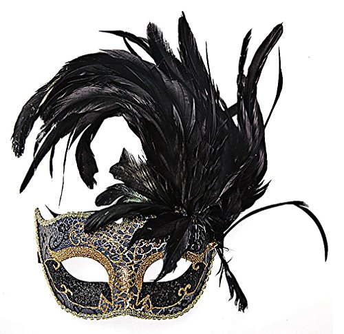 Maze Women's Colorful PVC Fancy Glittery Sequined Eye Masks With Big Feathers, Black One Size -