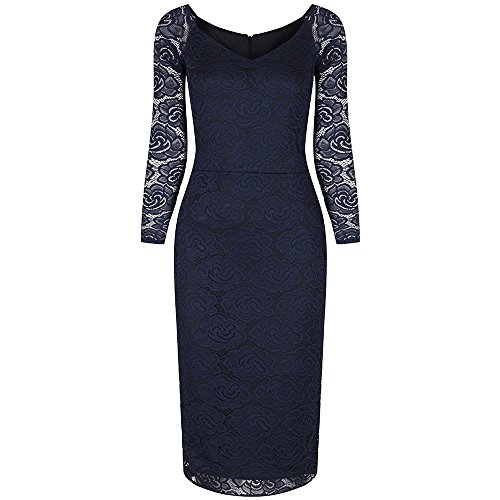 Pretty Kitty Fashion - Robe - Crayon - Manches Longues - Femme bleu bleu marine