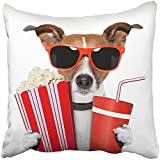 Throw Pillow Cover 18X18 Inch Polyester Red Funny Dog Watching Movie White Animal Fun Popcorn Pet Food Pop Television Decorative Pillowcase Two Sides Square Print For Home