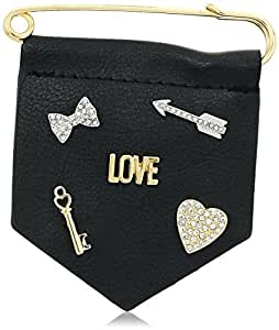BCBGeneration New Gold/Rhodium/Black polyurethane Love Brooches and Pin