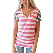 Neemanndy Women's Short Sleeve Triple Color Block Summer Tops Casual Girls T Shirt Tee