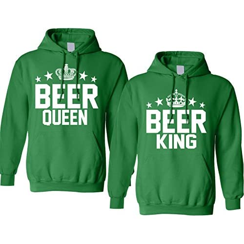 6b8ac117ac delicate Allntrends Couple Hoodie Beer King and Queen Matching ST Patrick's  Party Tops