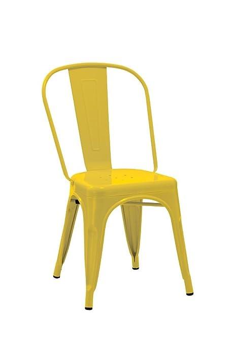 1x chaise de salle à manger Jaune chaise de cuisine en fer / métal ...