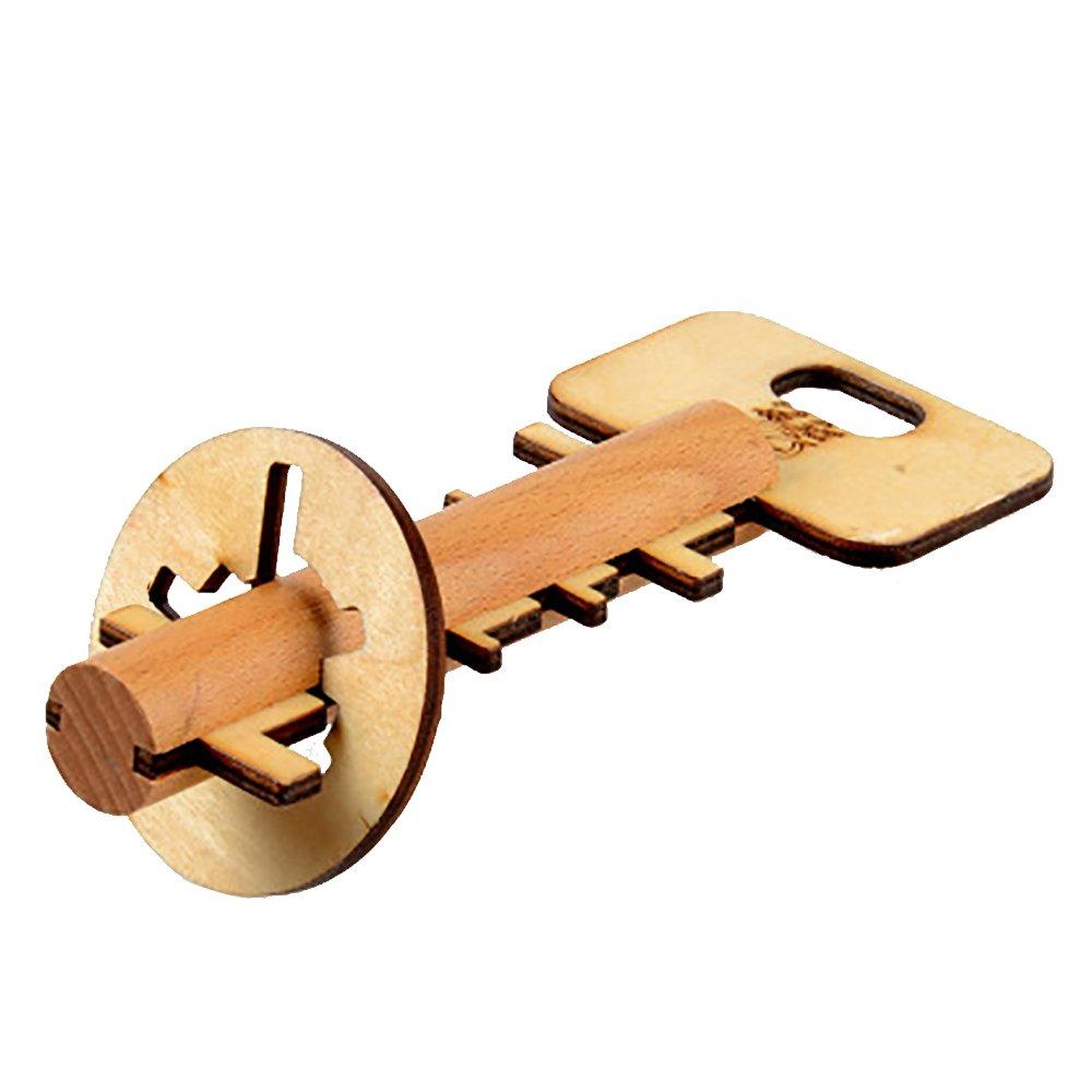 Newin Star Holz Puzzlespiel, 3D Knobelspiel Geduldspiel Logikspiel Denkspiel für Erwachsene und Kinder Pädagogisches Spielzeug zur Entwicklung der Kreativität und Problemlösungfähigkeit (Schlüssel) BENJAMIN SHEPARDEE