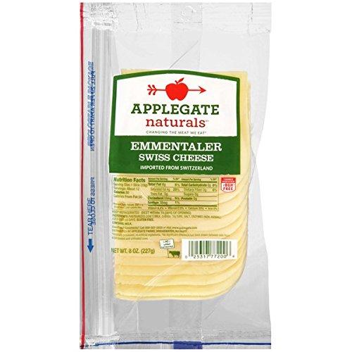 Applegate Emmentaler Swiss Cheese, 8 Ounce (Pack of 12)