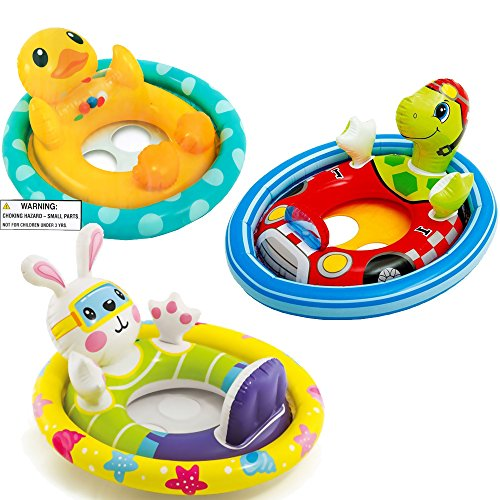 (Intex See Me Sit Pool Rider Floats Ring Tube, Duck, Bunny & Racing Turtle - 3 Pack)