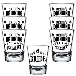 Shop4Ever Bride and Bride's Drinking Team Member Glass Shot Glasses Wedding Bachelorette Party Shot Glasses 7 Pack
