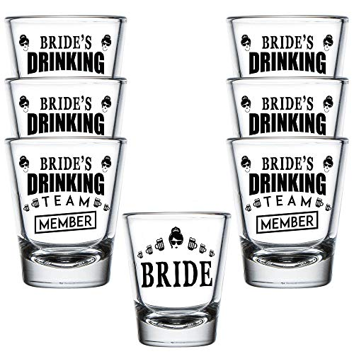 Bridesmaid Shot Glasses (Shop4Ever Bride and Bride's Drinking Team Member Shot Glasses ~ Wedding Bridal Bachelorette Party Favors ~ (7)