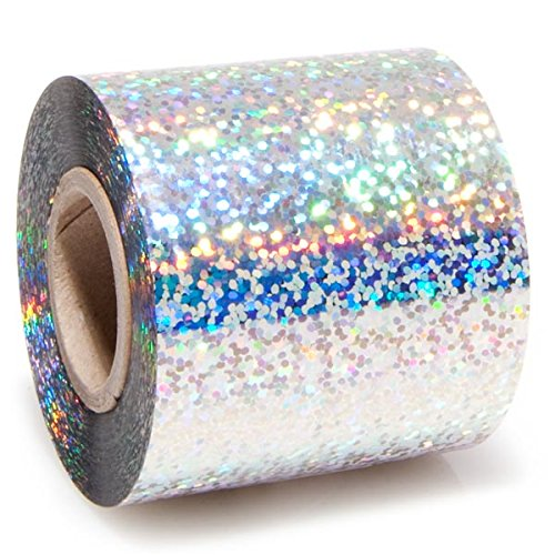 Silver Sparkle Holographic Streamer Roll, 2 inches Wide x 100 feet Long Decorating Supplies