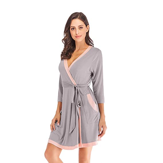 Mini Balabala Women Robe Soft Kimono Robes Cotton Bathrobe Sleepwear Loungewear Short
