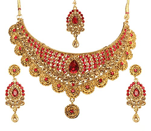 - Bindhani Women's Indian Jewelry Simple Bridal Bridemaids Party Wear Crafted Brides Gold Plated Kundan Polki Red Choker Necklace Earrings Tikka Fashion Bollywood Style Jewellery Set for Wedding