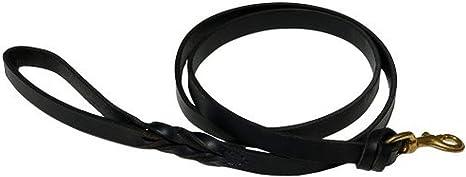 Black 6-Feet x 7//8-Inch Signature K9 Heavy Leather Leash