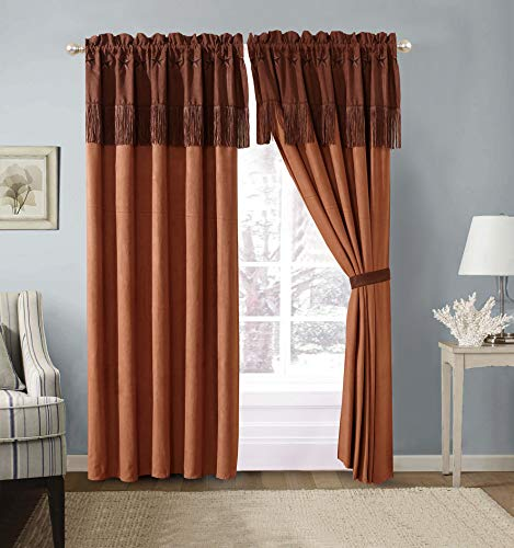 GrandLinen 4 Piece Chocolate/Brown/Gold Rustic Lone Star Curtain Set (120