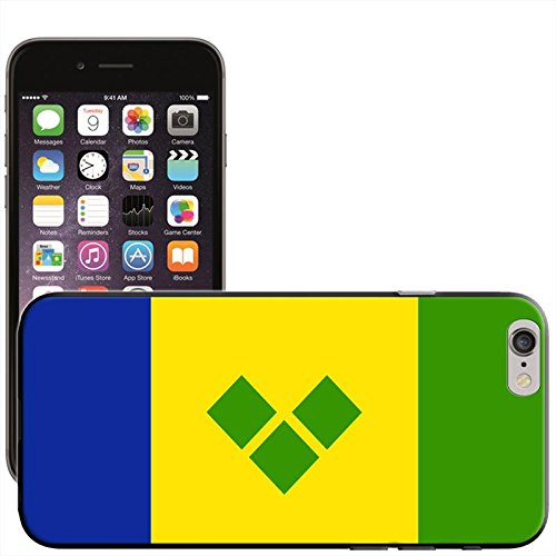 Drapeau Saint Vincent et les Grenadines Coque arrière rigide détachable pour Apple iPhone modèles, plastique, noir, iPhone 6 Plus