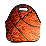 Dozili Basketball Texture Large & Thick Neoprene Lunch Bags Insulated Lunch Tote Bags