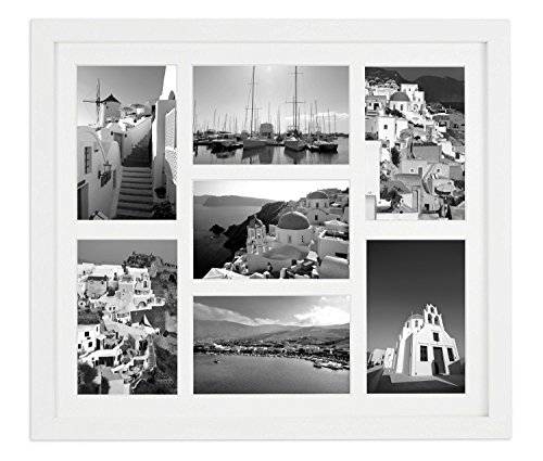 Golden State Art 13.7x15.7 White Photo Wood college frame, For (7) 4x6 with REAL GLASS and White Mat (Glass Art State Frame)