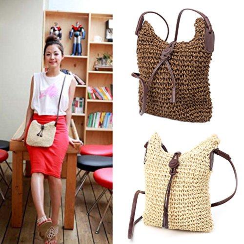 Sac School's main Handbag Sac bandoulière à femmes Straw d'anniversaire à Café Cadeau Wanfor des pratique Crossbody avvnYRx