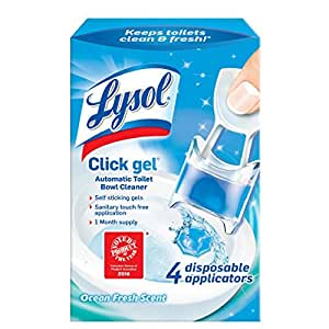 Lysol Click Gel, AutomaticToilet Bowl Cleaner, Spring Waterfall, 4 Count