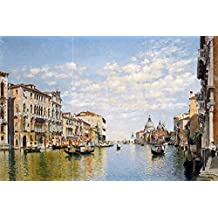 """GONDOLIERS ON THE GRAND CANAL VENICE by Federico del Campo water boats Tile Mural Kitchen Bathroom Wall Backsplash Behind Stove Range Sink Splashback 3x2 6"""" Rialto"""