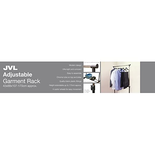JVL - Perchero Ajustable con Ruedas (43 x 88 x 107/170 cm)